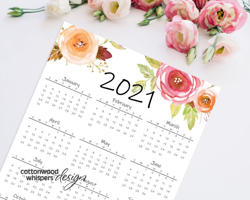 2021 Year At A Glance Calendar   Printable Calendar