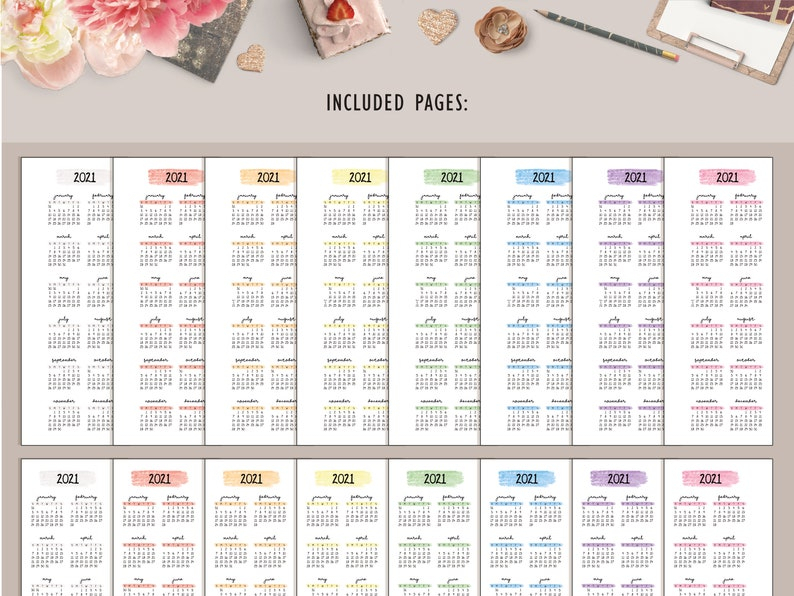 2021 Year At A Glance Calendar Printable Skinny Mini Happy