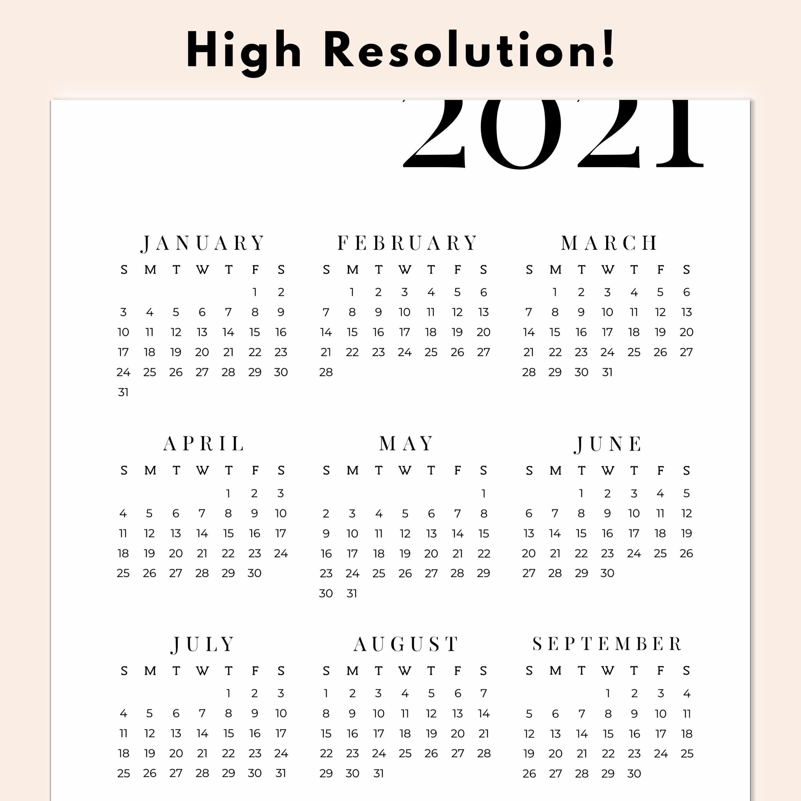 2021 Year At A Glance Calendar Printable Yearly Calendar