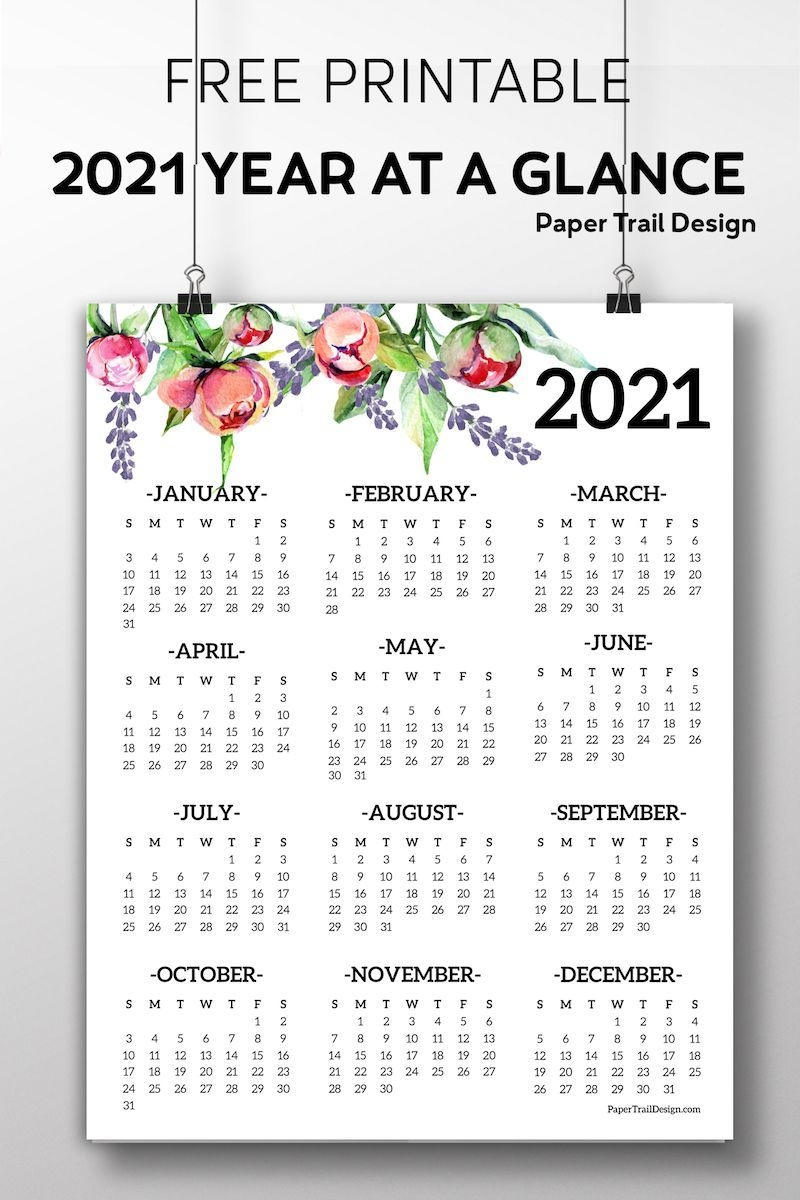 2021 Year At A Glance Free - Example Calendar Printable