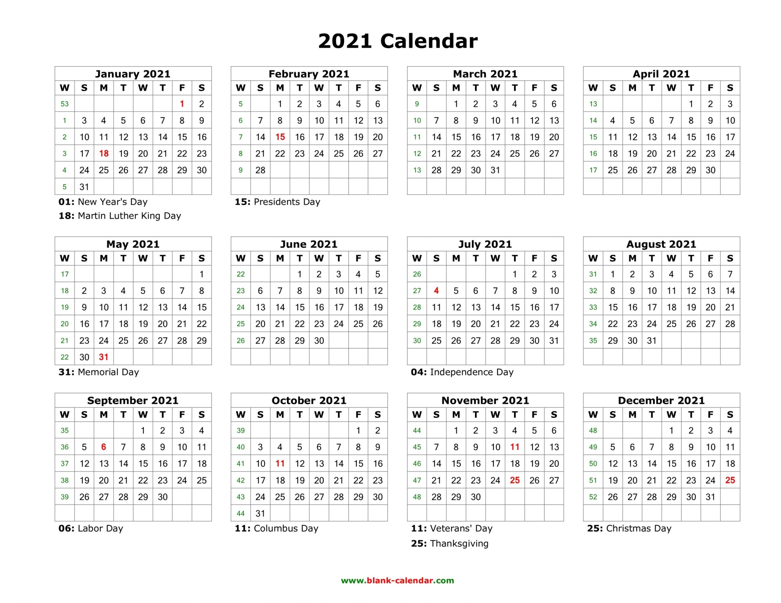 2021 Yearly Calendar Printable | Free Letter Templates