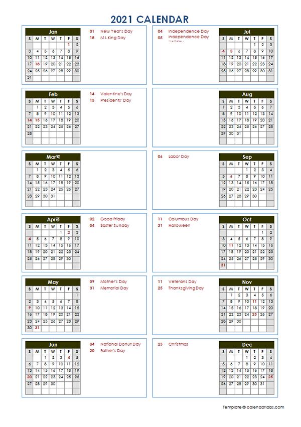 2021 Yearly Calendar Template Vertical Design - Free