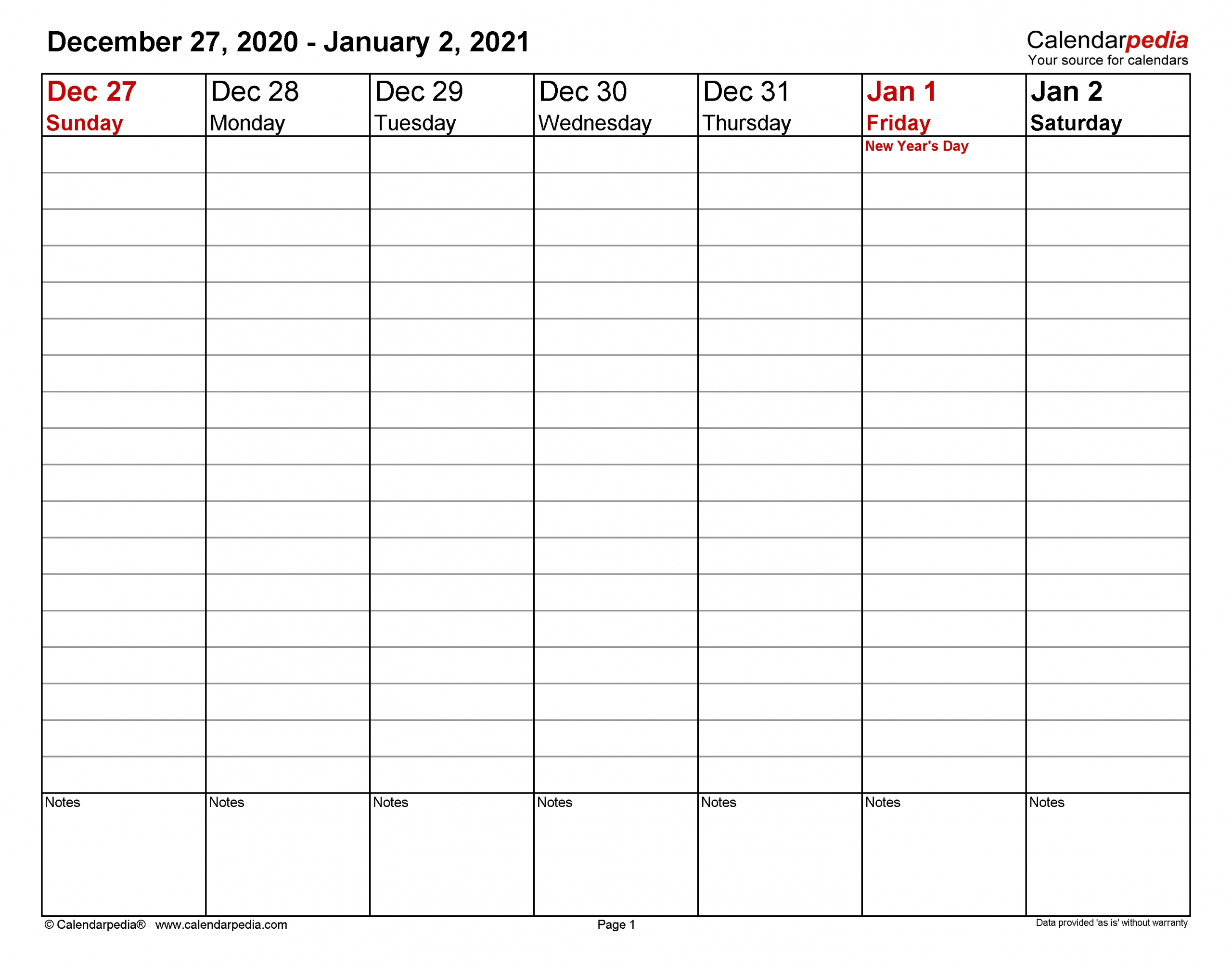 5 Day Calendar Editable Free 2021   Calendar Template