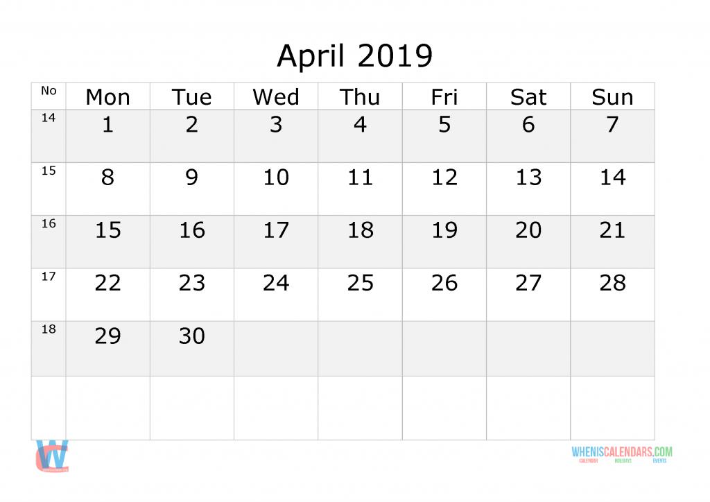April 2019 Calendar With Week Numbers Printable, Start By