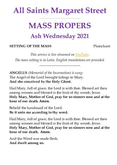 Ash Wednesday Propers | All Saints Margaret Street
