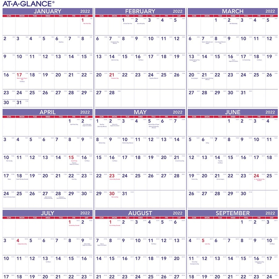 At-A-Glance Yearly Wall Calendar - Julian Dates - Yearly