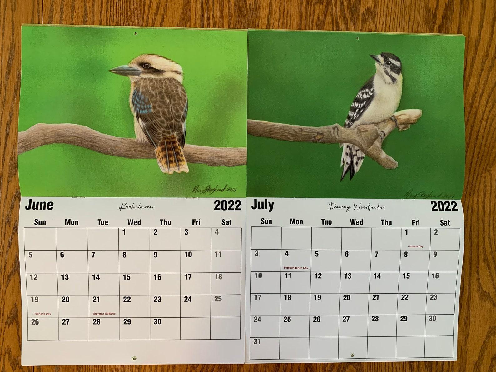 Bird Art Wall Calendar 2021-2022 13 Month 8 1/2 X 11 | Etsy