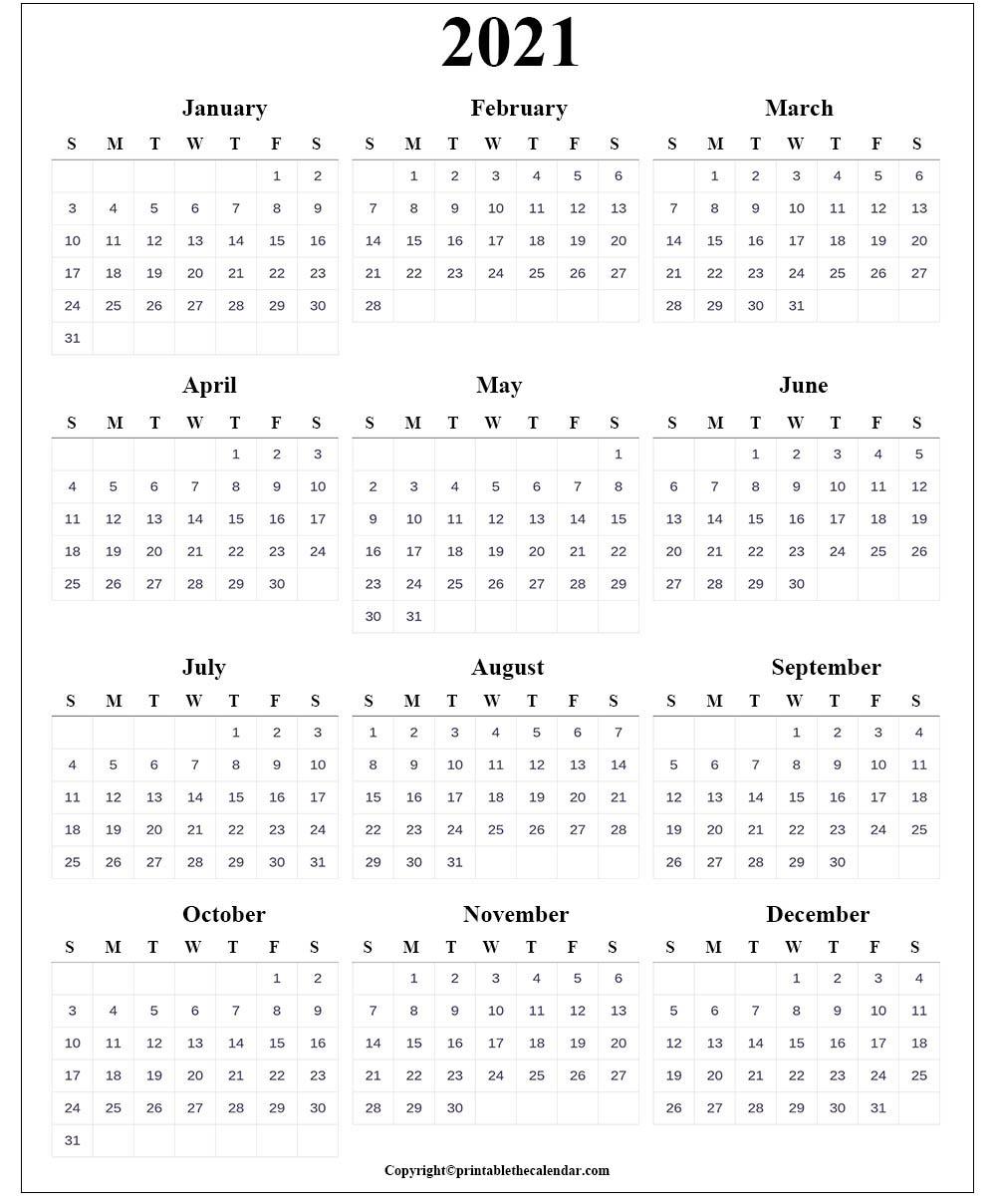 Blank Calendar 2021   Printable The Calendar