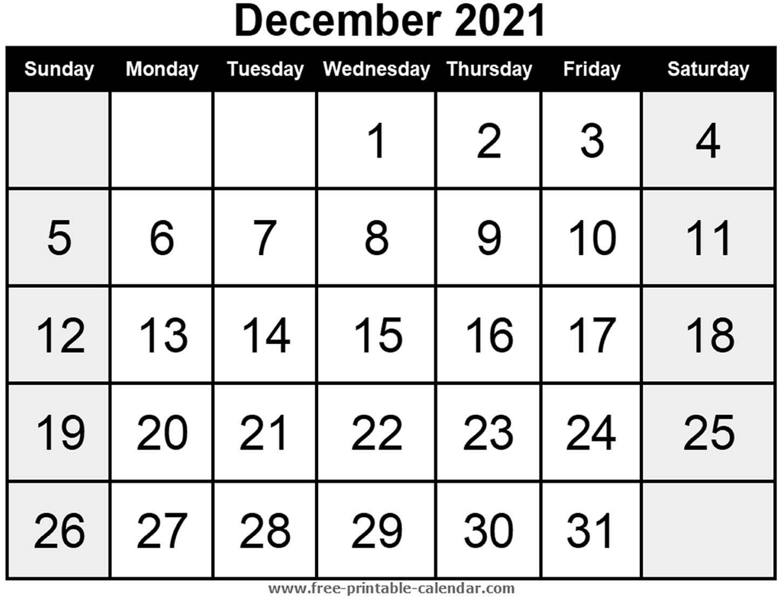Blank Calendar December 2021 - Free-Printable-Calendar