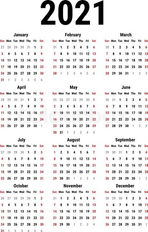 Blank Yearly Calendar 2021 Simple | Calvert Giving