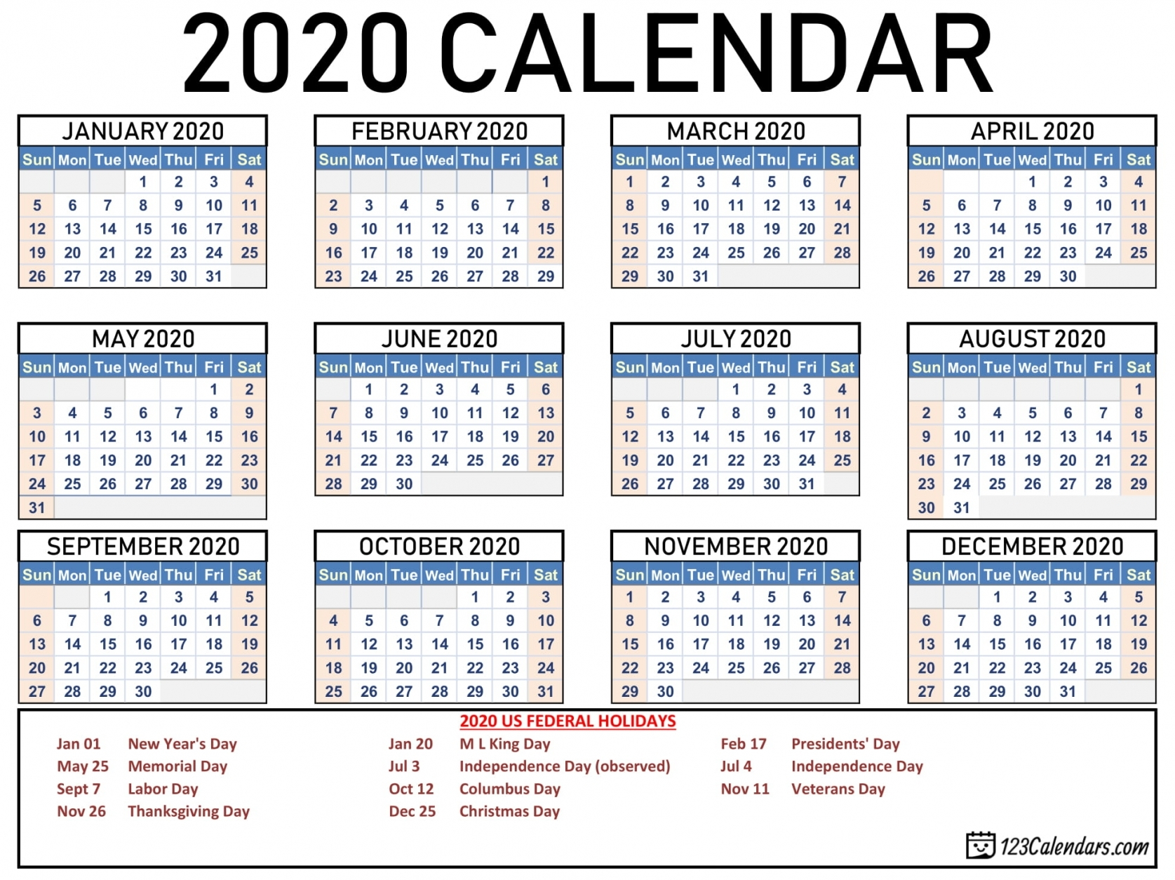 Calendar 2020 Printable With Holidays | Free Letter Templates