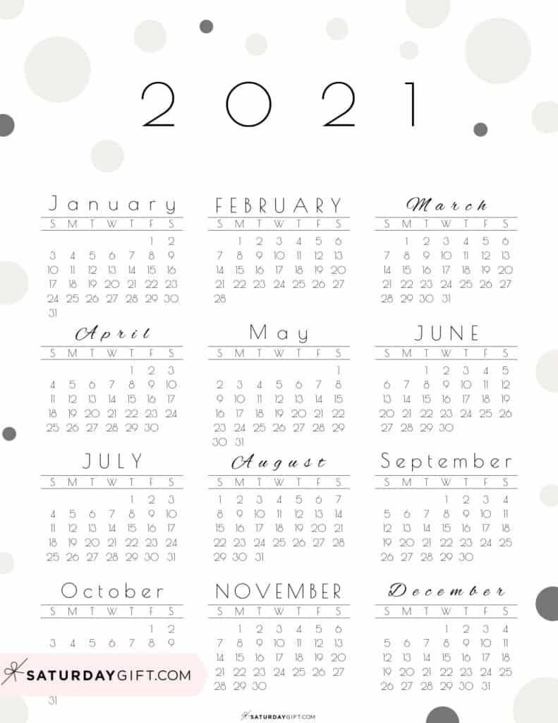 Calendar 2021 At A Glance Printable   Month Calendar Printable