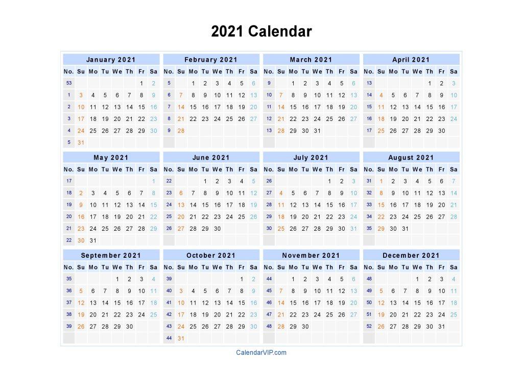 Calendar 2021 - Printable Week Calendar