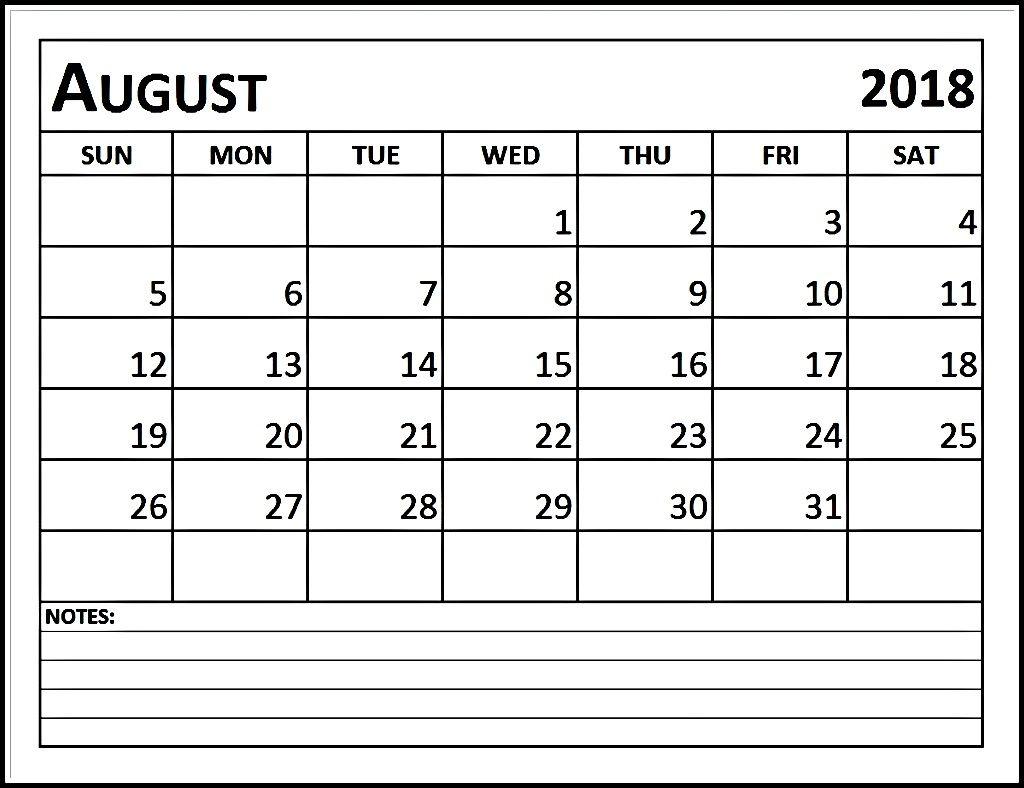 Calendar August 2018 - August 2018 Printable Calendar