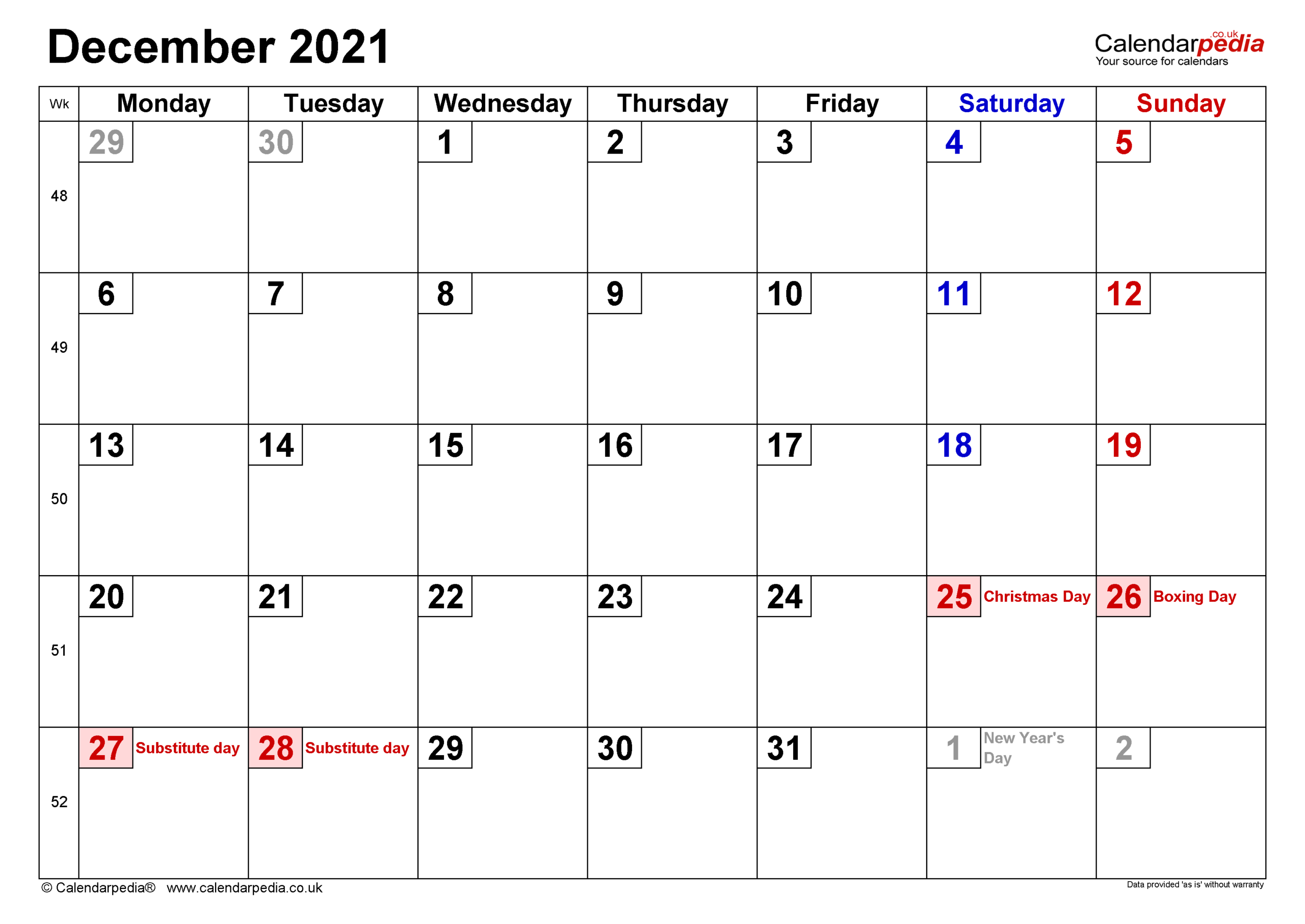 Calendar December 2021 Uk With Excel, Word And Pdf Templates