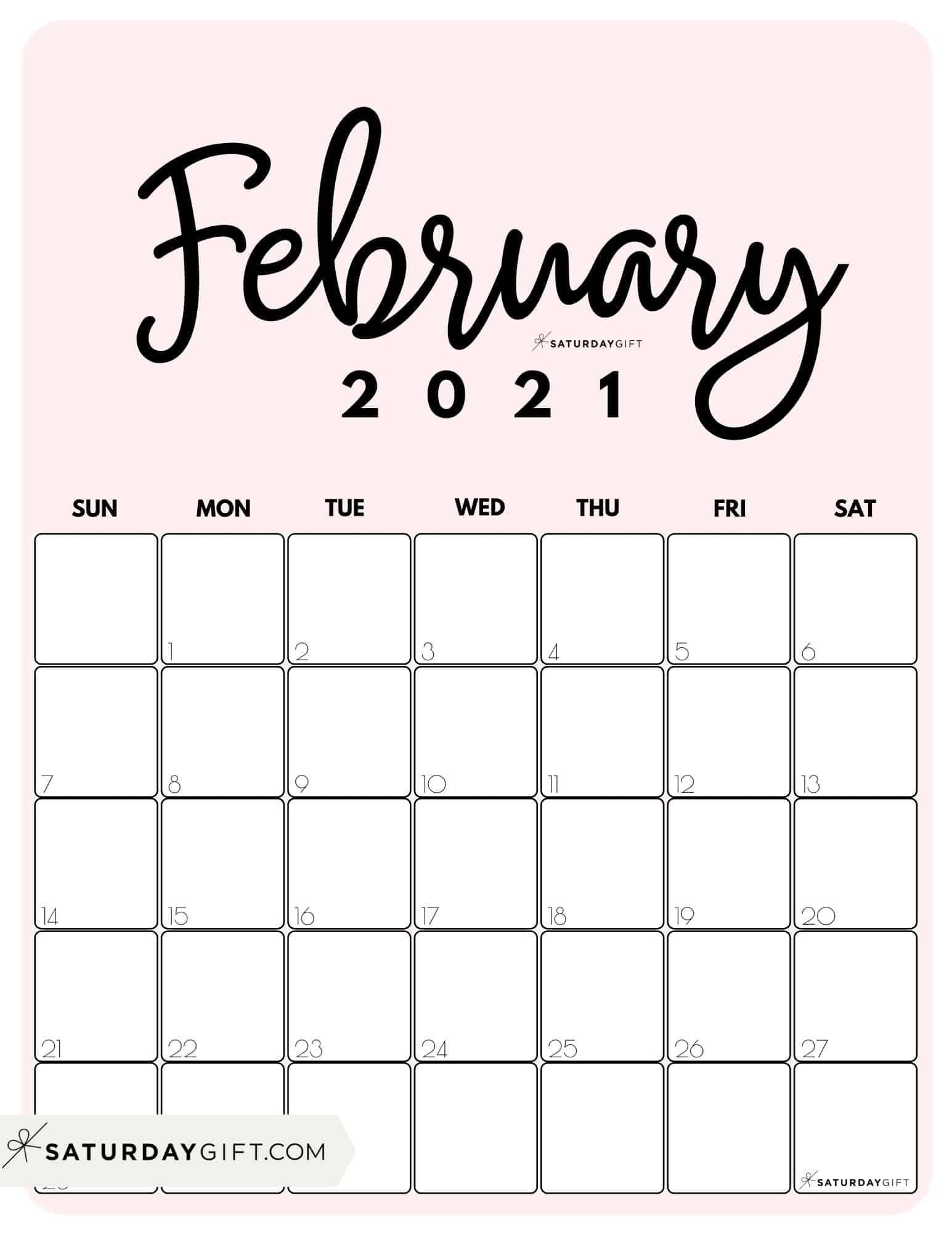 Cute (& Free!) Printable February 2022 Calendar