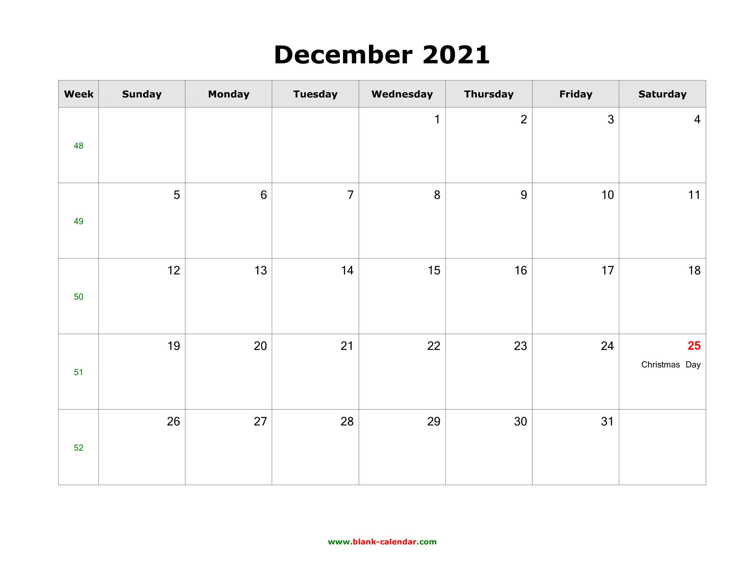 December 2021 Blank Calendar   Free Download Calendar