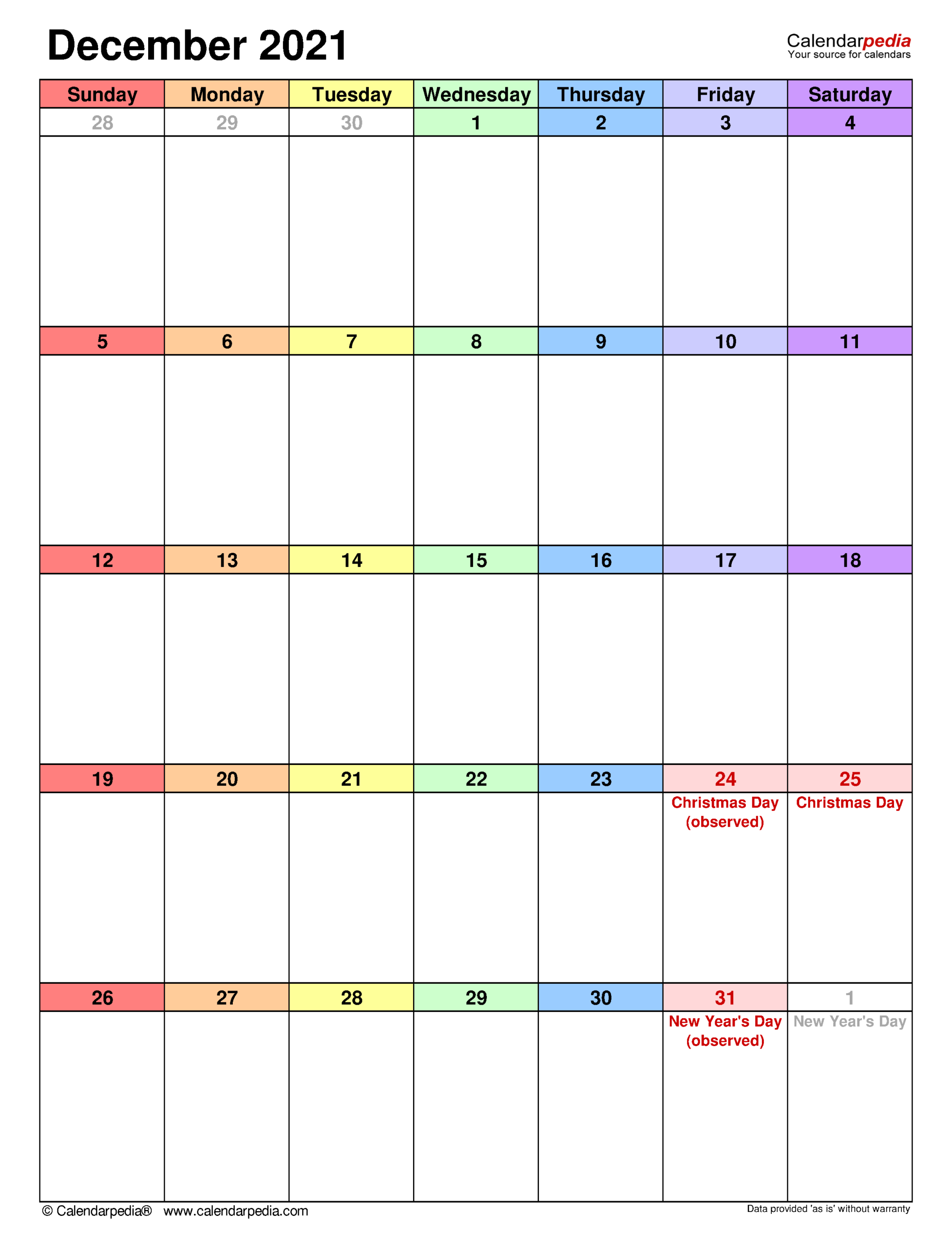 December 2021 Calendar   Templates For Word, Excel And Pdf