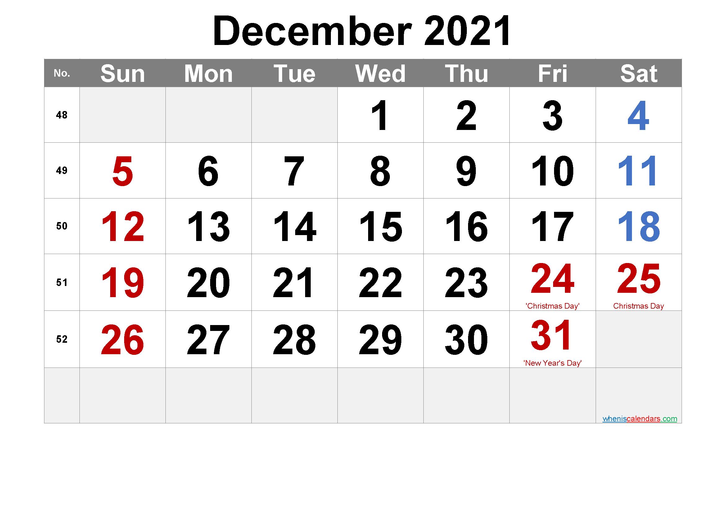 December 2021 Printable Calendar With Holidays - 6 Templates