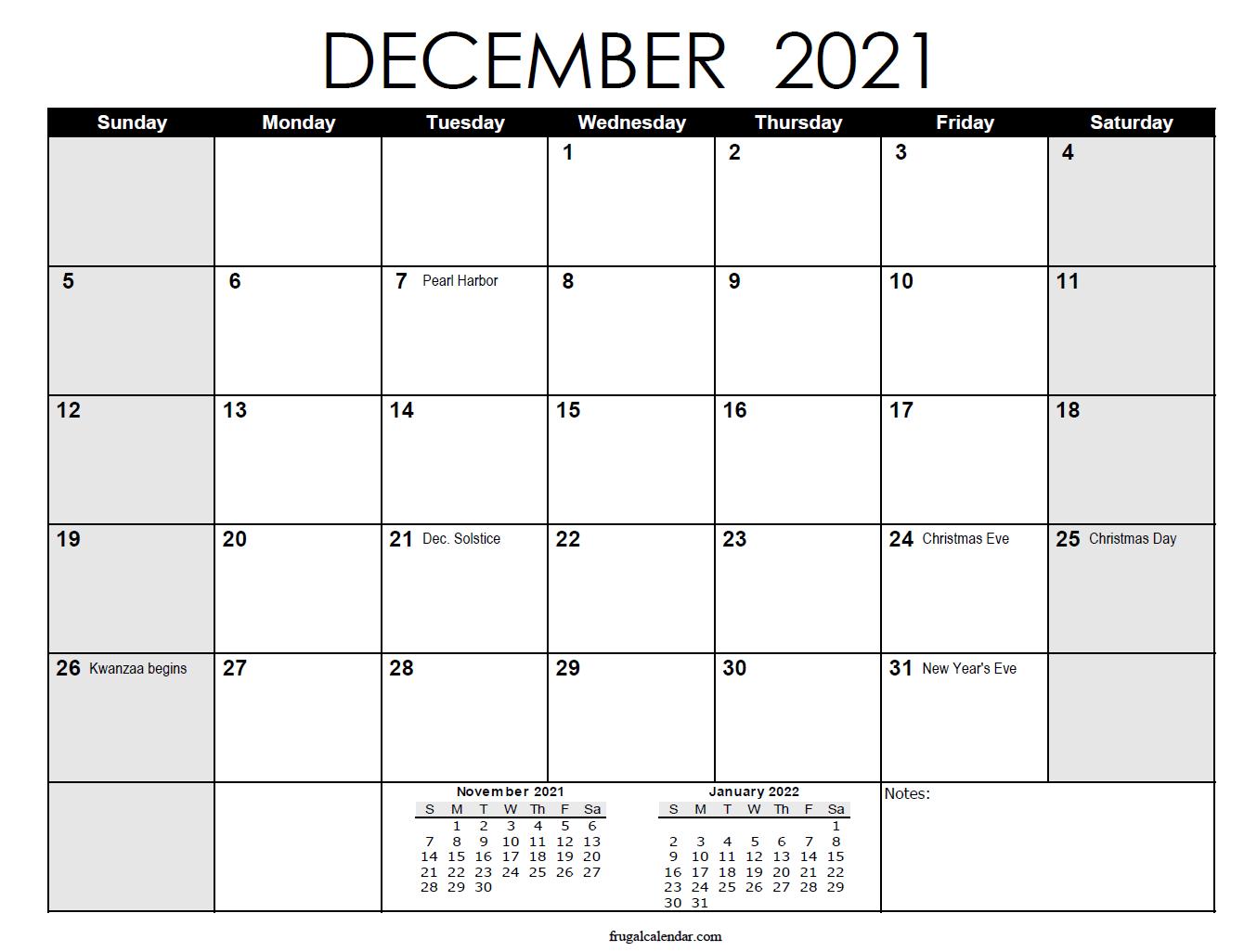 December Calendar 2021 | 2021 Calendars Printable
