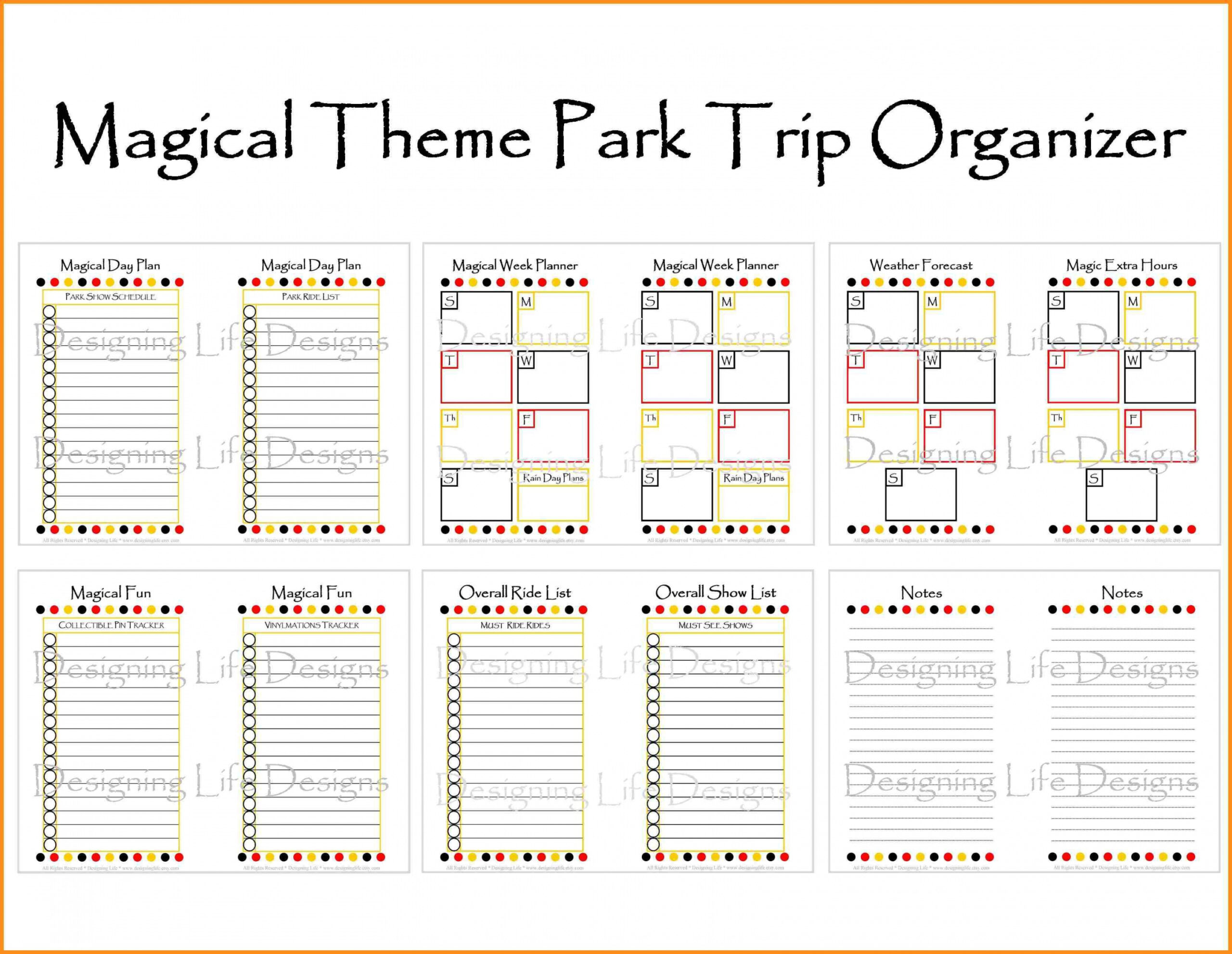 Disney World Vacation Planner Templates | Example Calendar