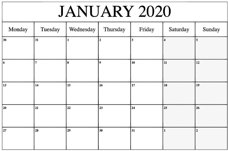 Editable January 2020 Calendar   Calendar Printables