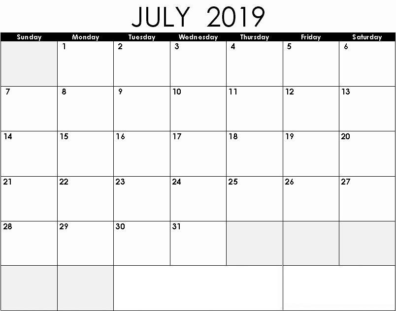 Editable July 2019 Printable Calendar   Monthly Calendar