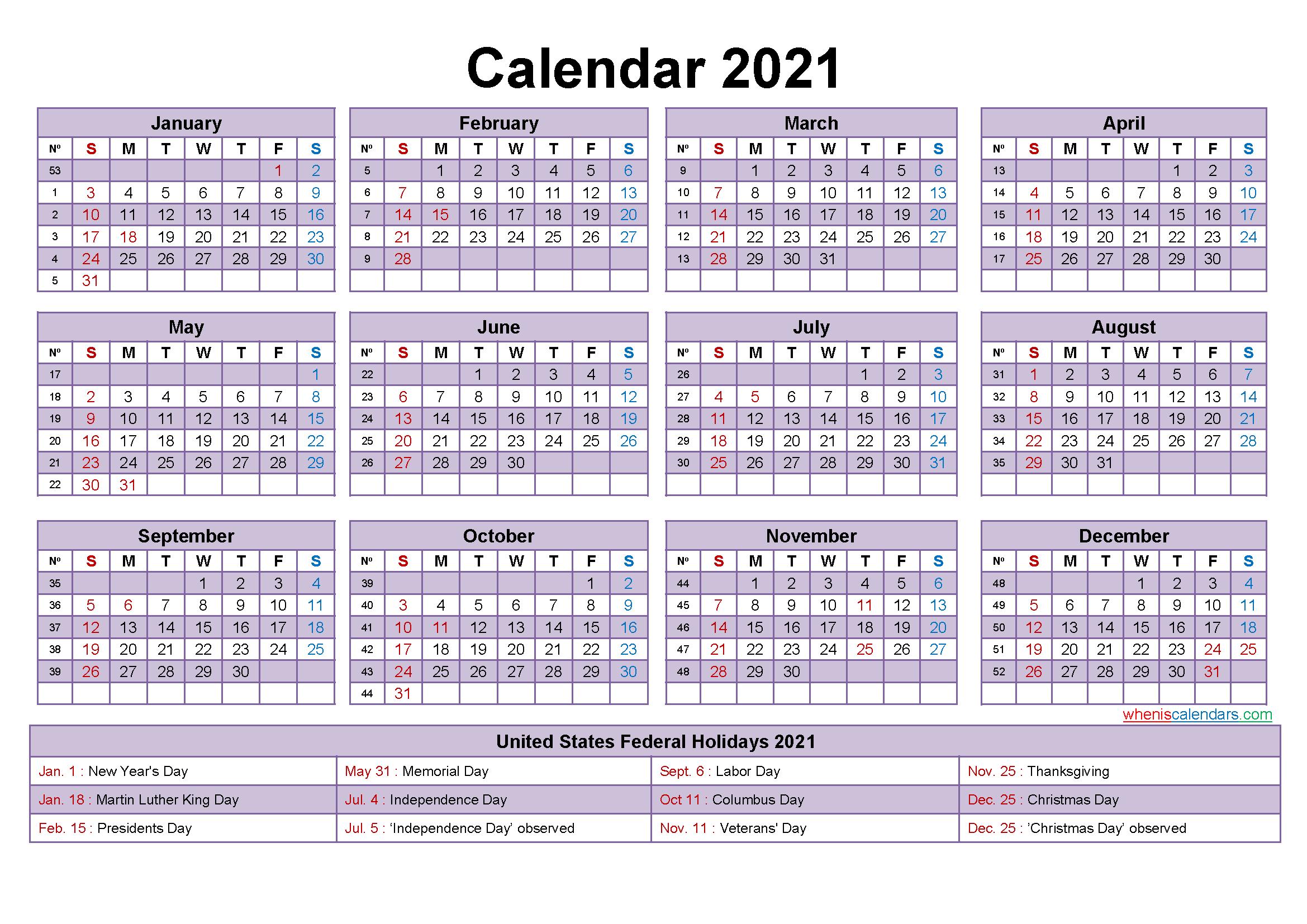 Editable Printable Calendar 2021 Word - Template No.ep21Y17