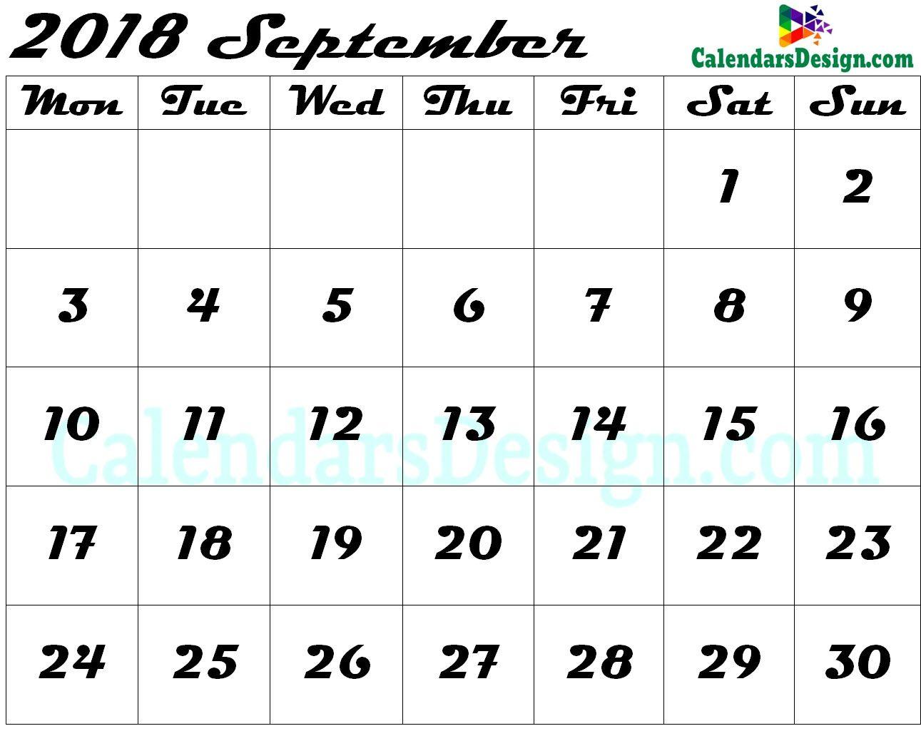 Editable September 2018 Calendar Blank Template   Calendar