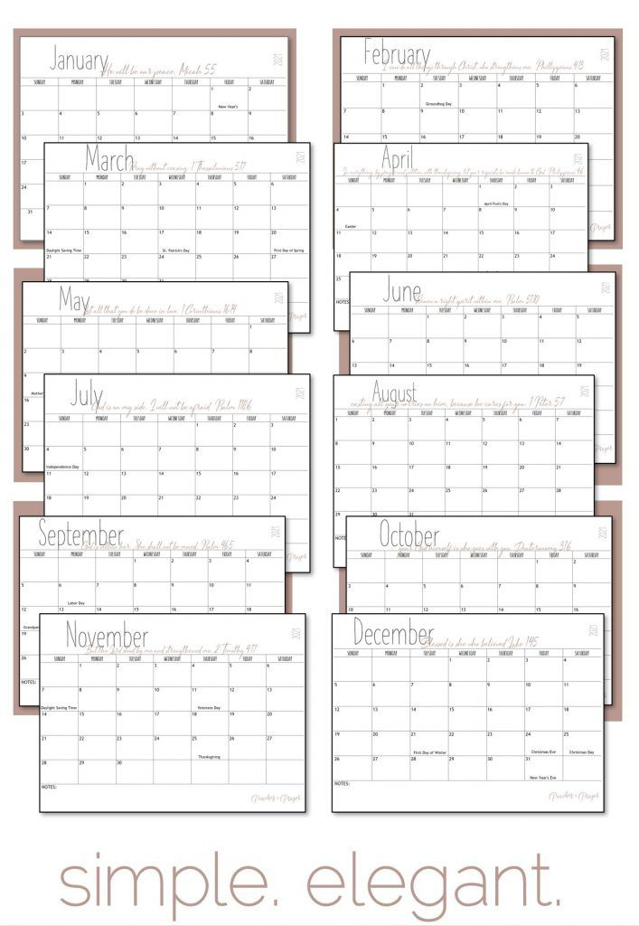 Free 2021 Monthly Calendar Printables Blank With Holidays