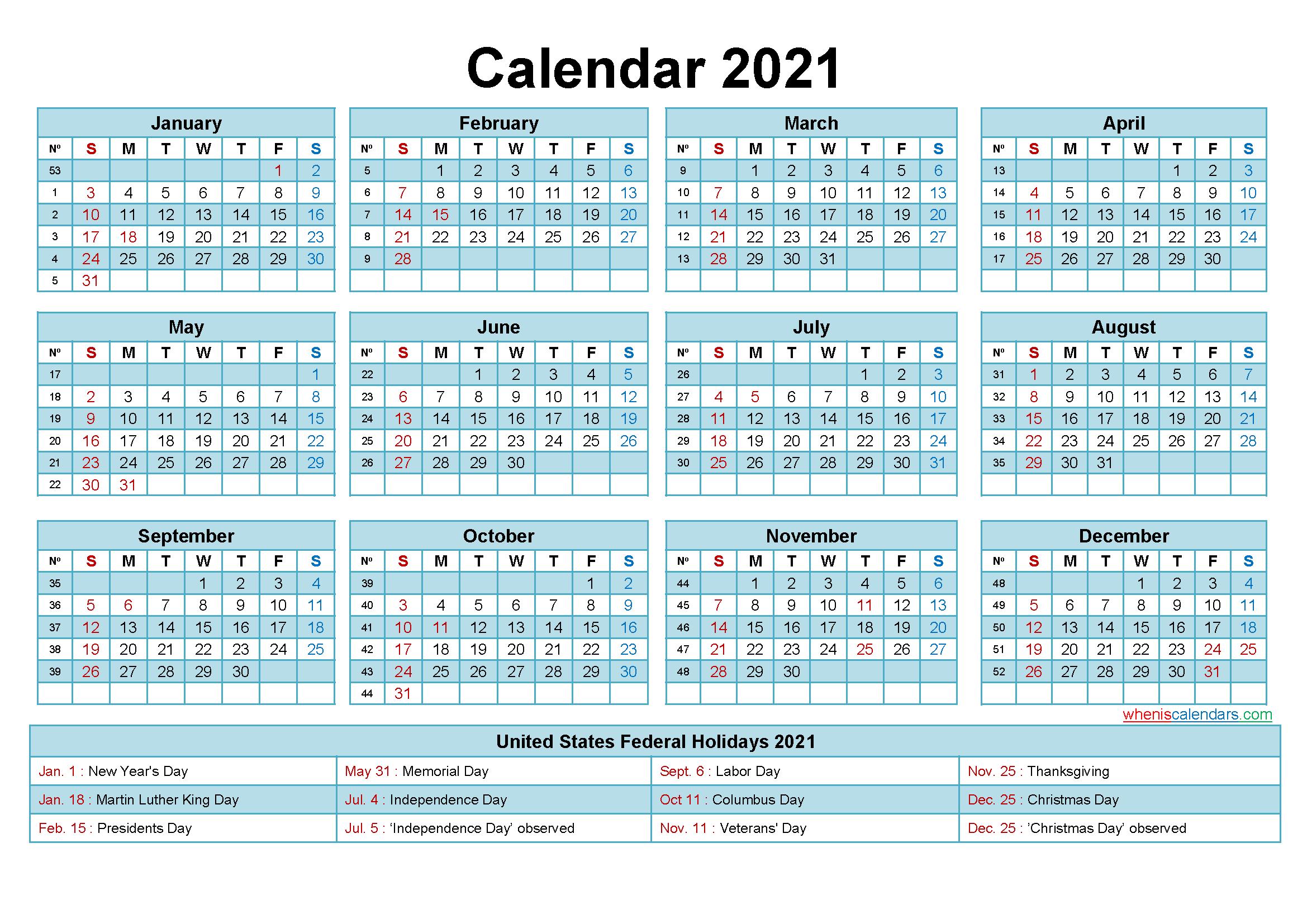 Free 2021 Printable Calendar With Holidays - Free