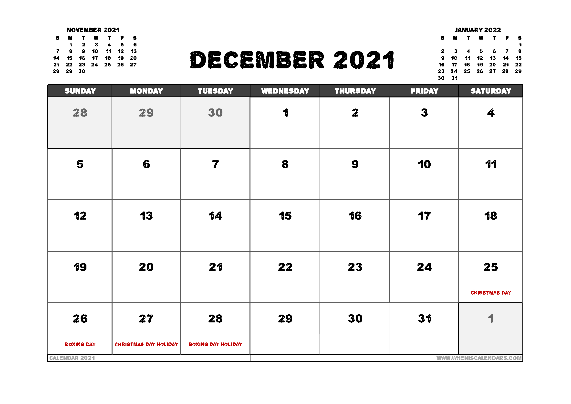 Free December 2021 Calendar Australia Printable 12