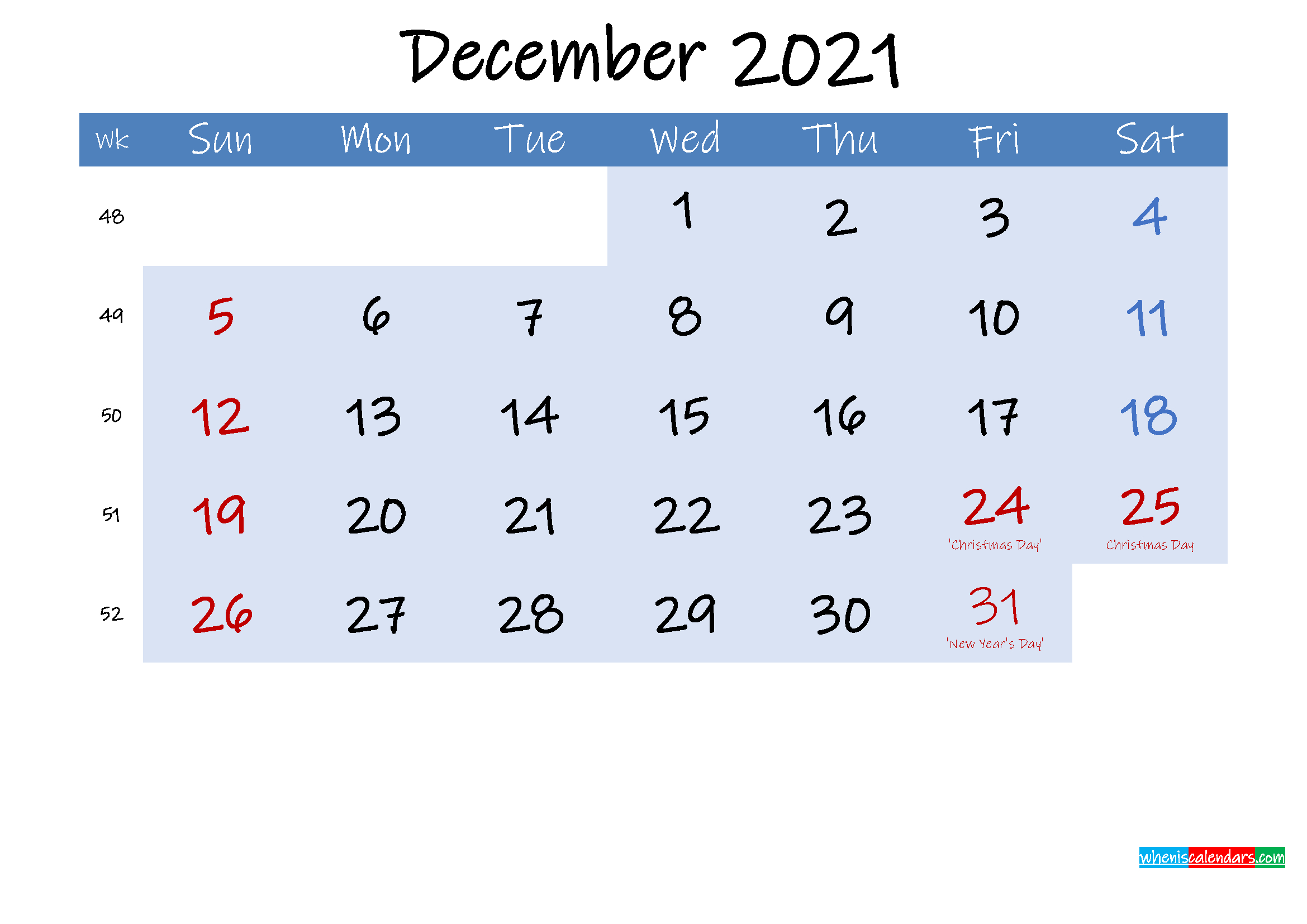 Free December 2021 Monthly Calendar Pdf - Template