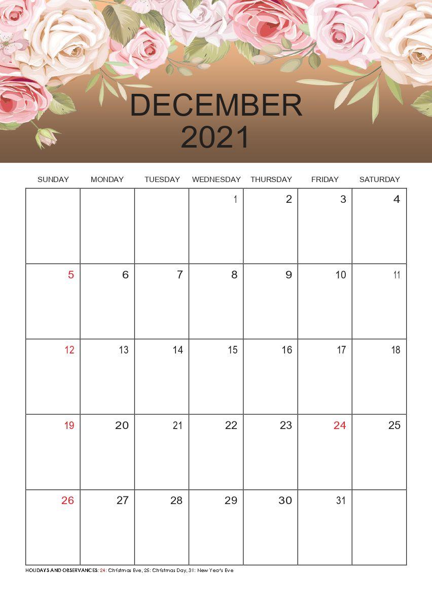 Free Download December 2021 Calendar Printable Pdf Templates