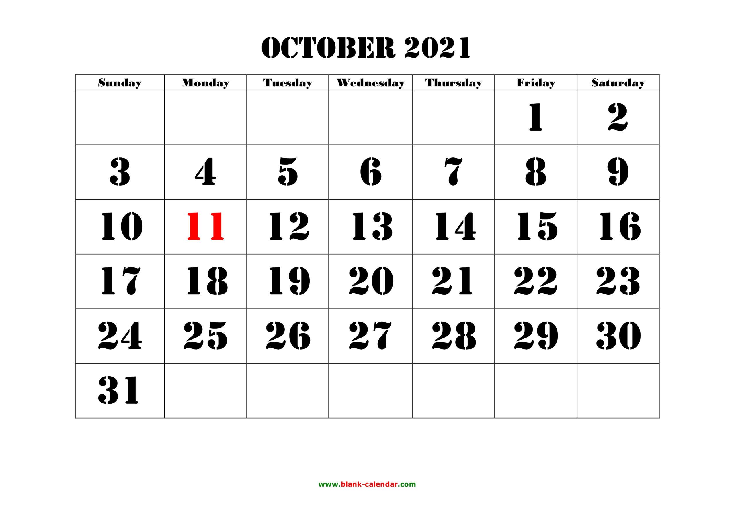 Free Download Printable October 2021 Calendar, Large Font