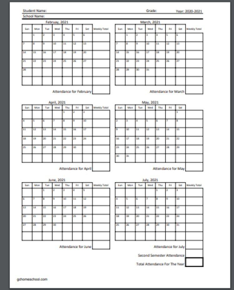 Free Homeschool Attendance Calendars 2020-2021