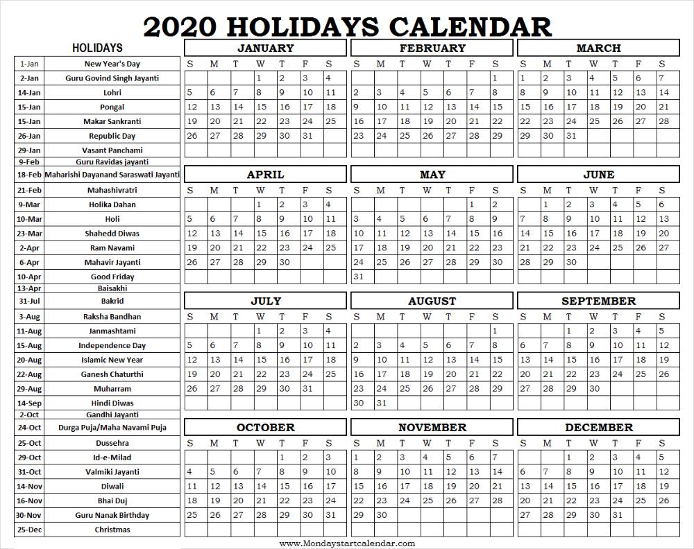 Free Printable 2020 Federal Holiday Calendar | Free