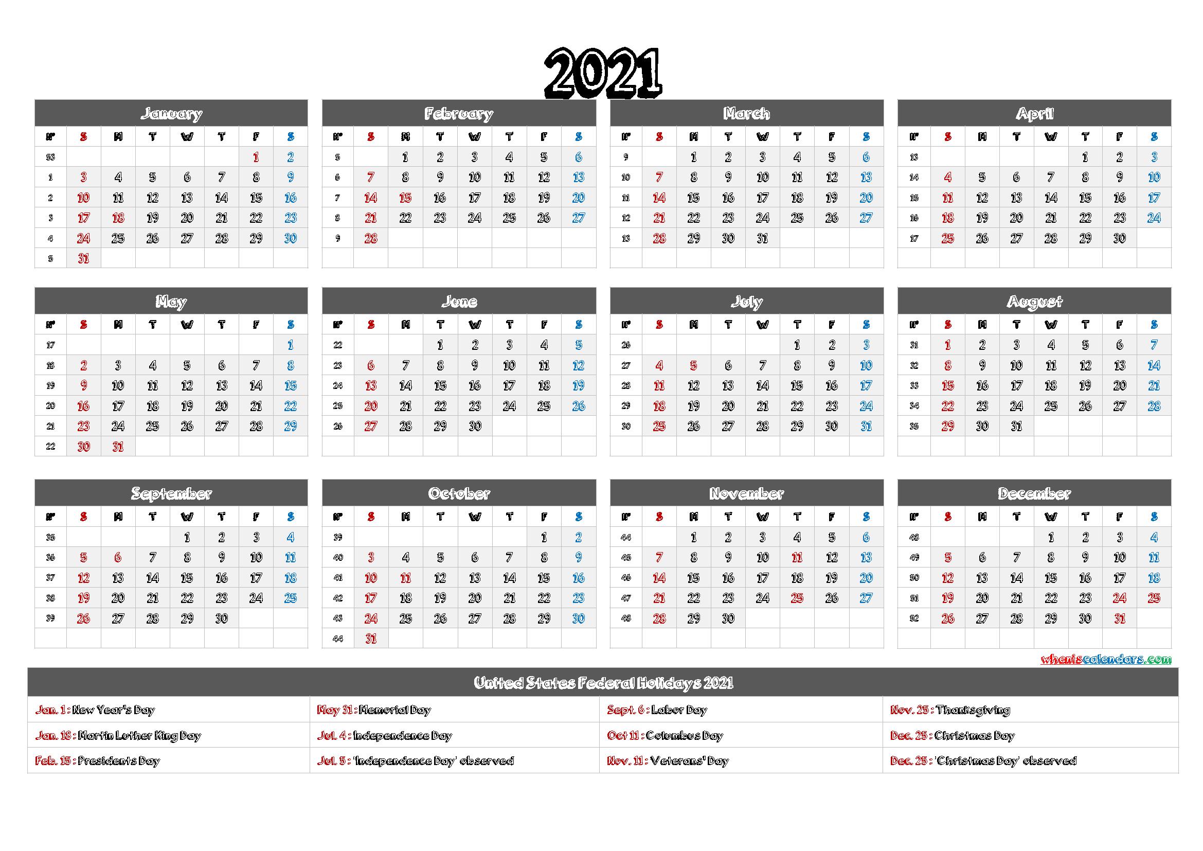 Free Printable 2021 Calendar - 6 Templates - Free
