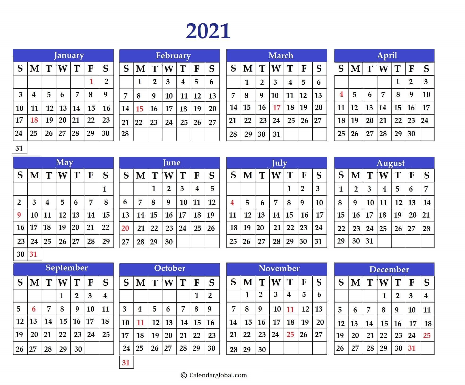 Free Printable 2021 Yearly One Page Calendar - Calendarglobal