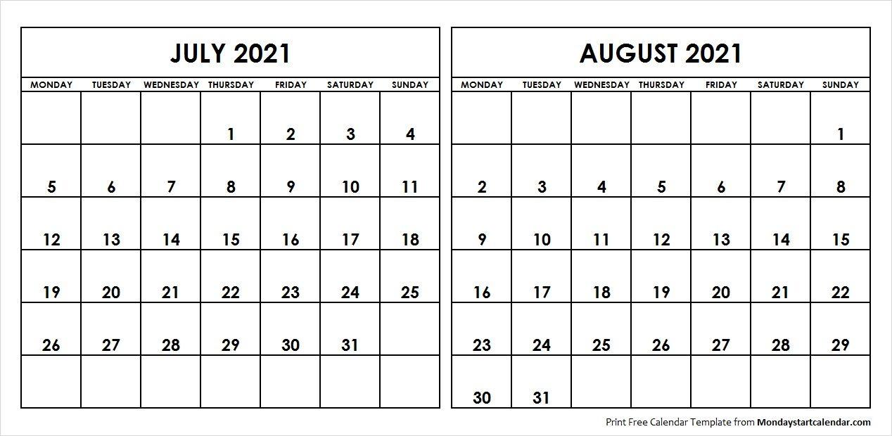 Free Printable 3 Month Calendar 2021 June July August In