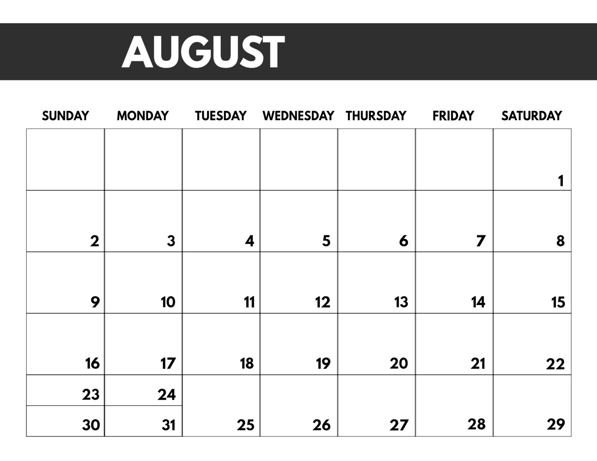 Free Printable Calendar Big Squares   Calendar Printables