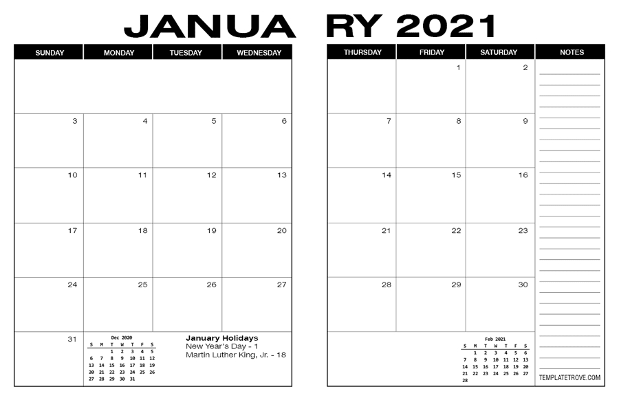 Free Printable Calendar Pages 8 1/2 X 11 2021 - 2021