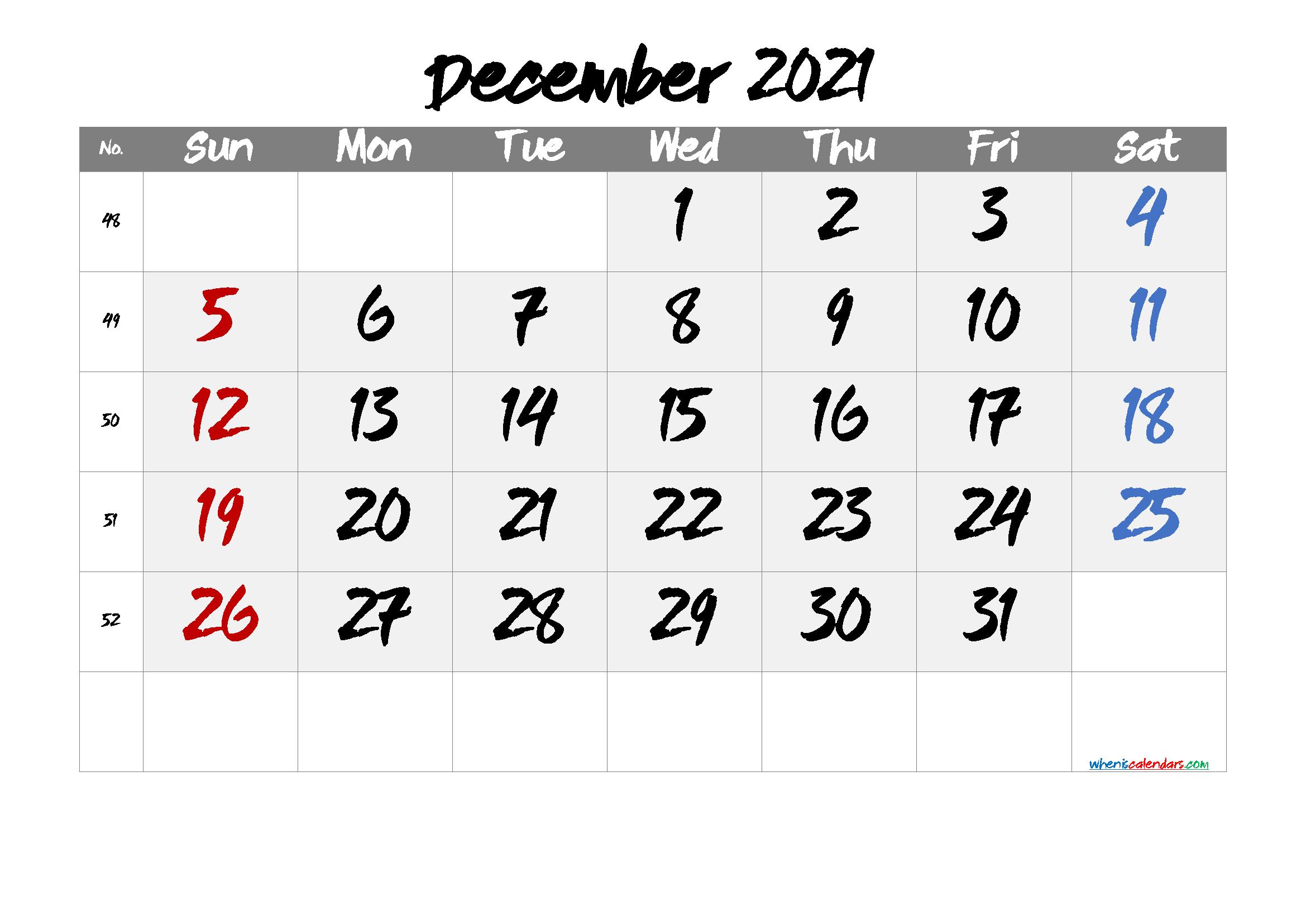 Free Printable December Calendar 2021