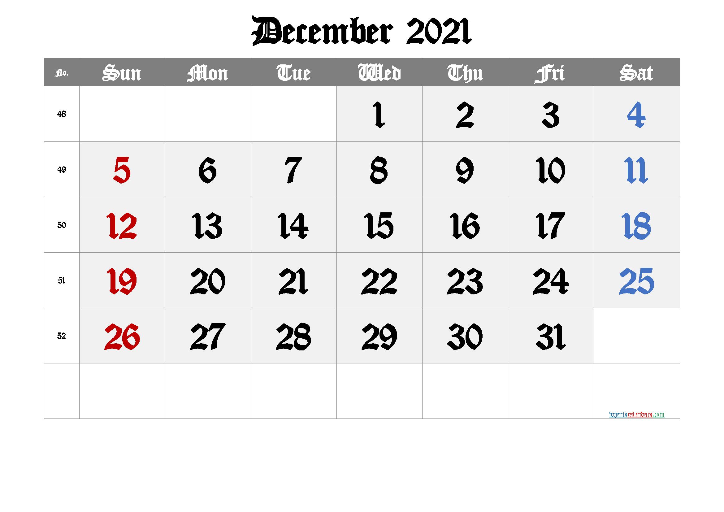 Free Printable December 2021 Calendar - 2022 Calendar