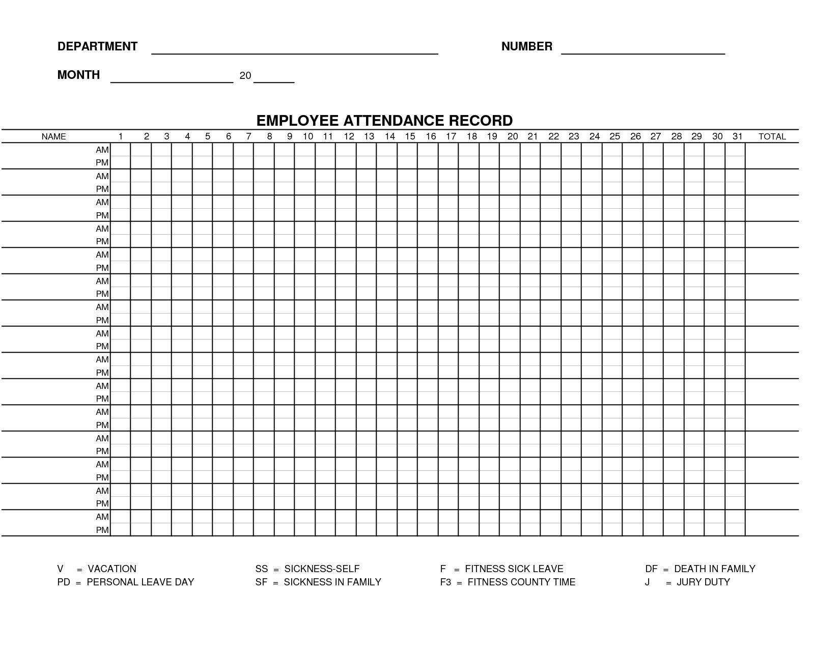 Free Work Attendance Sheet Template | Form 15 - Employee