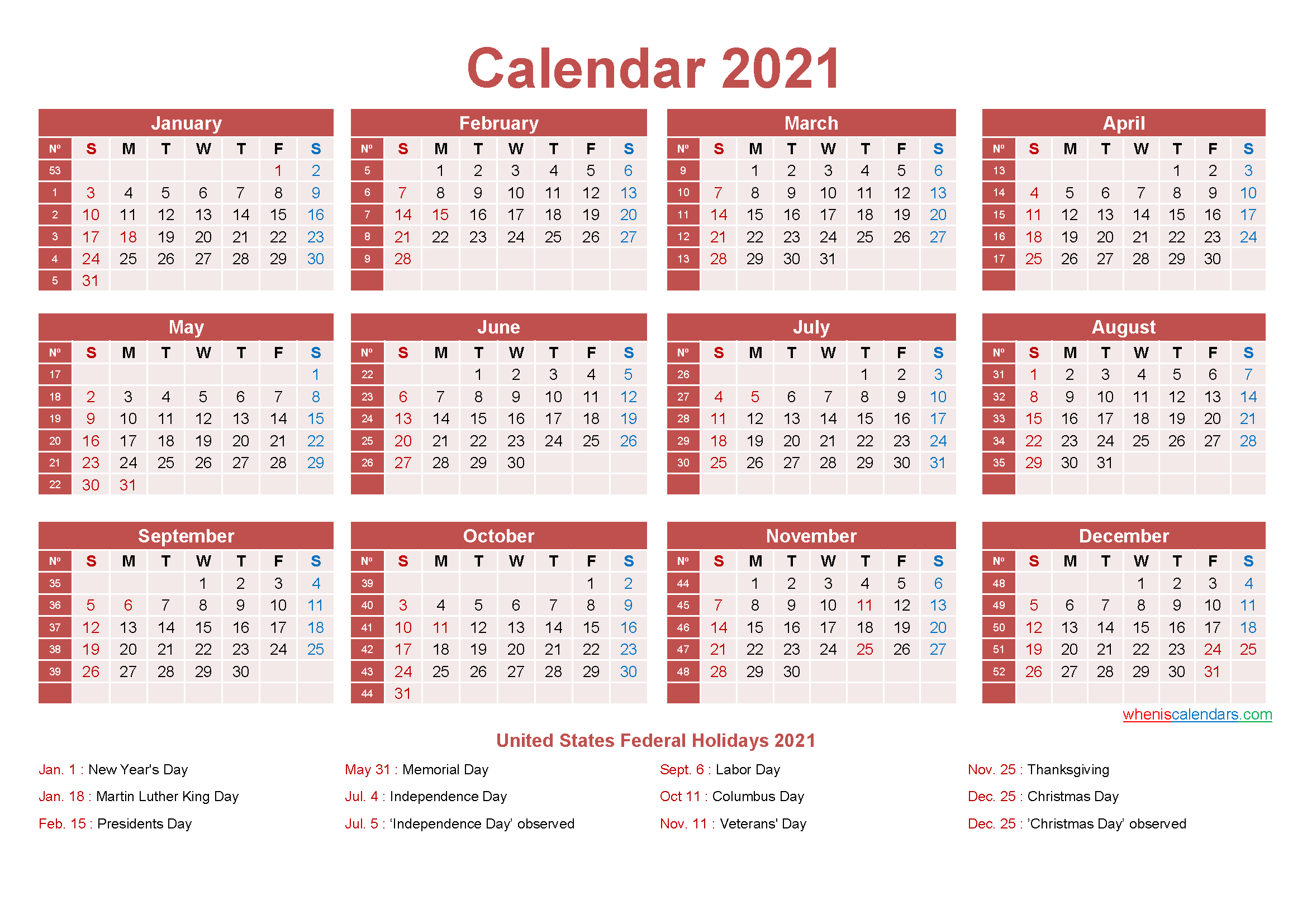 Free Yearly 2021 Calendar With Holidays Word, Pdf
