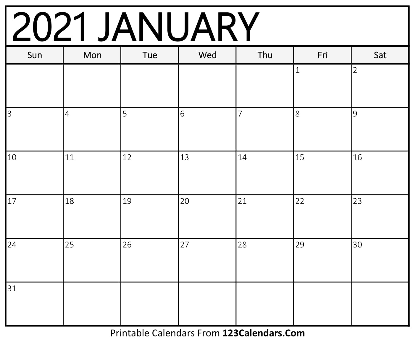 2021 Printable Calenders With Big Squares