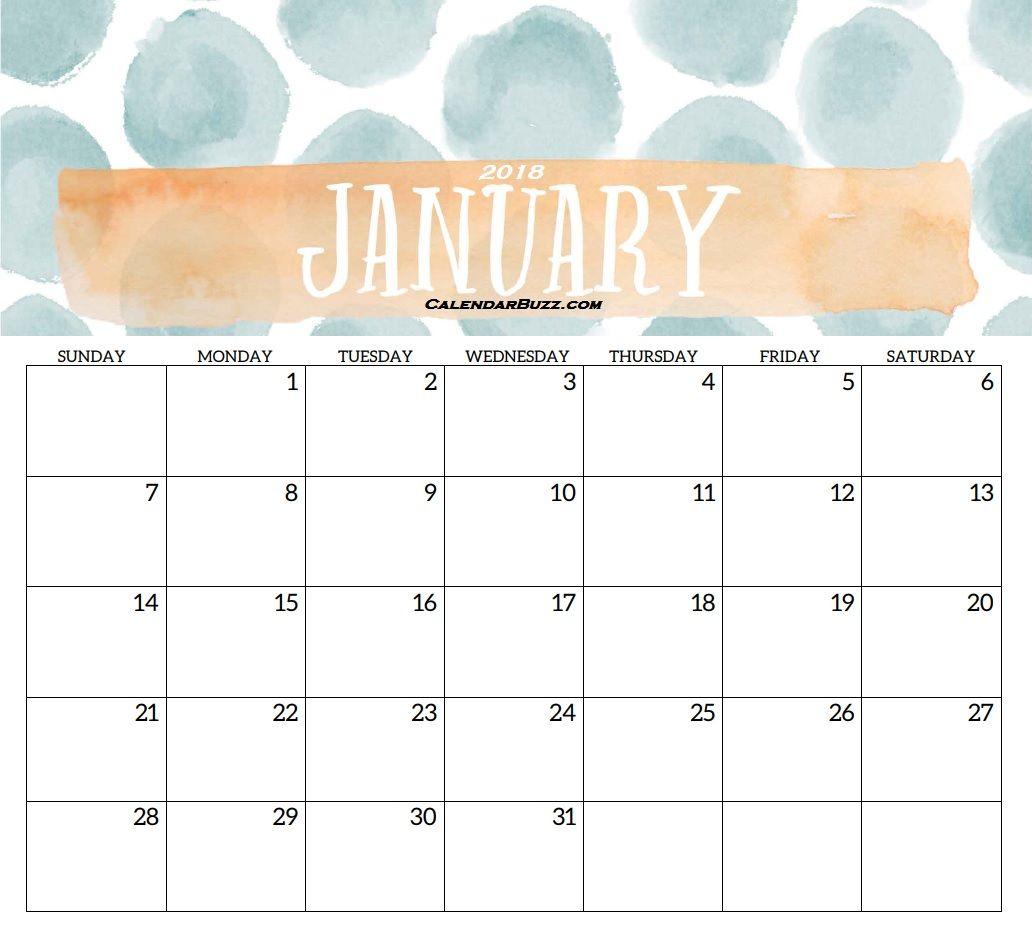 January 2018 Elegant Calendar Template   Desk Calendar
