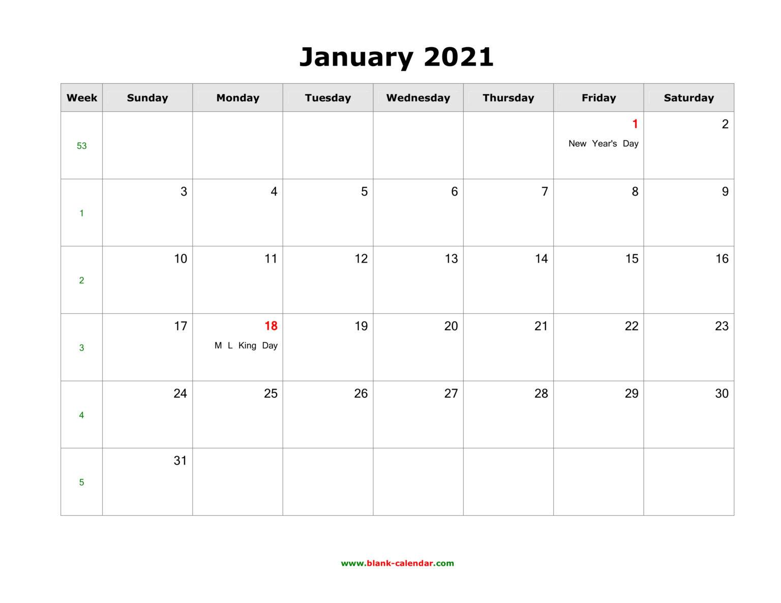 January 2021 Blank Calendar | Free Download Calendar
