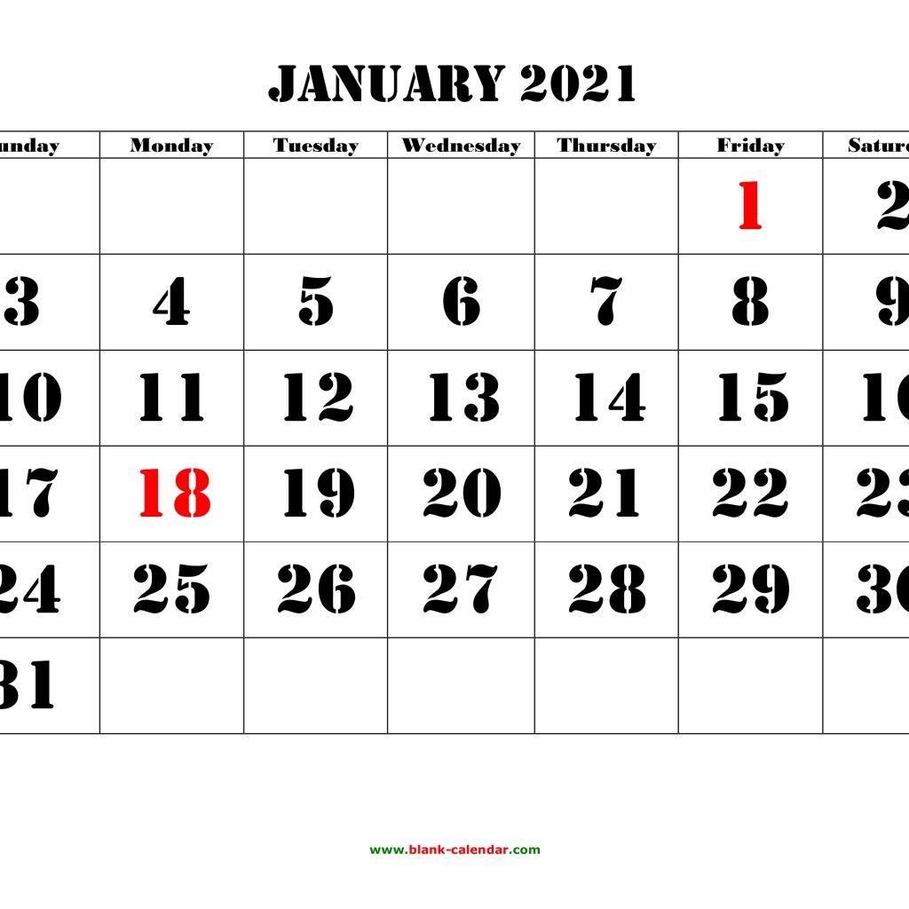 January 2021 Calendar Monday To Friday   Avnitasoni